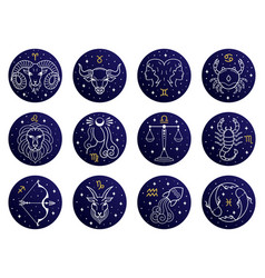 astrological zodiac signs aries taurus leo and vector image
