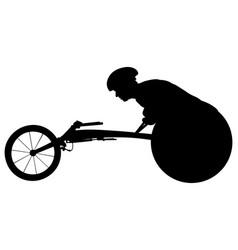 Athlete racer on wheelchair racing vector