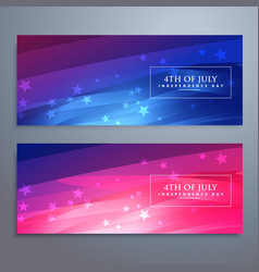 Beautiful 4th july american banners and headers vector