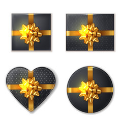 black gift box and golden bow set realistic vector image