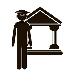 Black silhouette lawyer with graduation hat vector