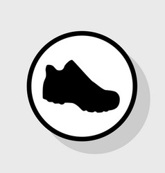 boot sign flat black icon in white circle vector image