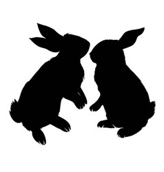 Bunny rodent black silhouette animal vector