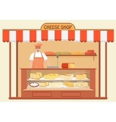 Butcher Shop Meat Seller Store shelves with vector image