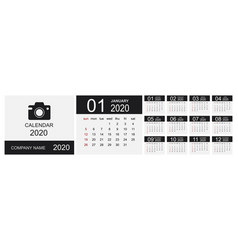 calendar 2020 set desk calendar template design vector image