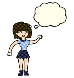 Cartoon girl waving with thought bubble vector