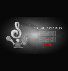 Cartoon music award musical note and microphone vector
