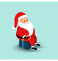 Cartoon santa claus sitting on a gift box vector