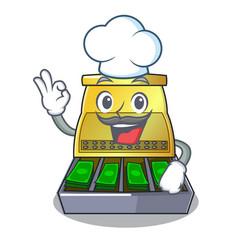 chef cartoon vintage cash register front view vector image