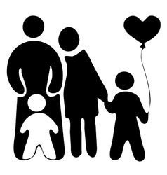 Childrens with baloon mother and father vector
