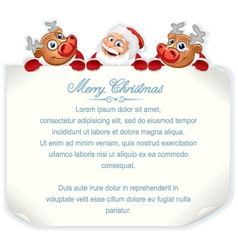 Christmas background with Santa and Rudolph vector image