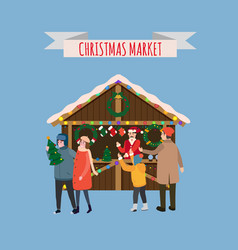 Christmas stall with with souvenirs and gifts shop vector
