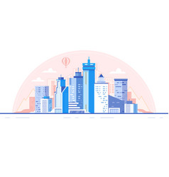 City skyline background buildings silhouette vector