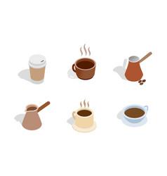 coffee icon set isometric style vector image