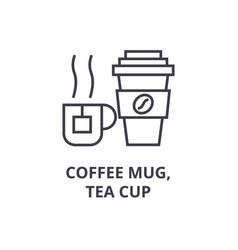 coffee mug tea cup line icon outline sign vector image