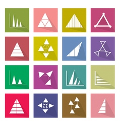 Collection of 16 Business Graph Icons Banner vector