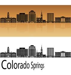Colorado Springs V2 skyline in orange vector image vector image