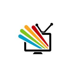 Colorful screen television logo vector
