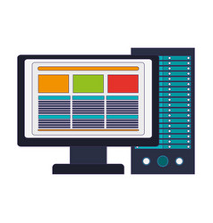 computer with screen and cpu blue lines vector image