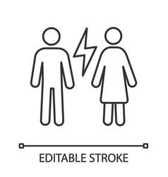 Couple quarrel linear icon vector