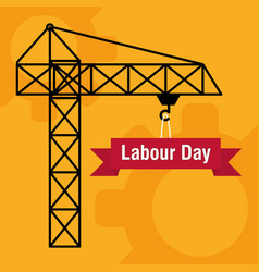 Crane tower construction labour day vector