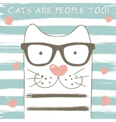 Cute cat with glasses vector