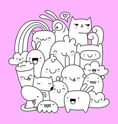 cute doodle creatures vector image