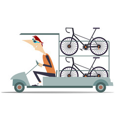 Cycle technical help car transports bikes isolated vector