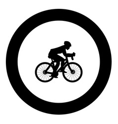 cyclist on bike silhouette icon black color in vector image