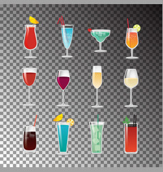 Delicious alcohol cocktails for good summer party vector