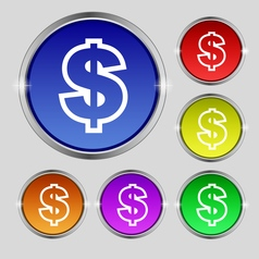 Dollar icon sign Round symbol on bright colourful vector