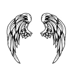 Eagle wings in tattoo style isolated on white vector