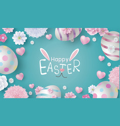 easter banner design of eggs and flowers vector image