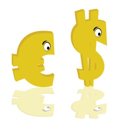euro and dollar gold color with eye vector image