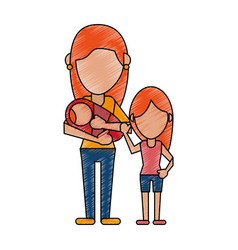 Faceless mother and child cartoon vector