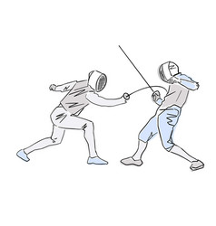 Fencer attacks opponent colorful drawing vector