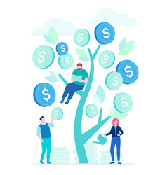 financial success - flat design style colorful vector image