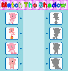find the correct shadow of the hippo vector image