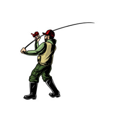 Fisher with fishing rod vector