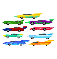 Flat set of colorful racing cars vintage vector