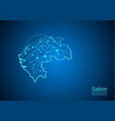 gabon map with nodes linked by lines concept of vector image