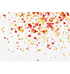 gold and red foil confetti isolated on a vector image