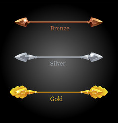 gold silver bronze spears for flag vector image