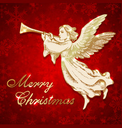 golden christmas angel with trumpet vector image