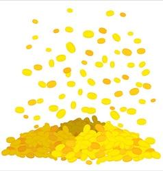 Golden rain Falling gold coins heap of money Cash vector