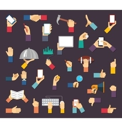 Hands with objects hands hold devices and vector image