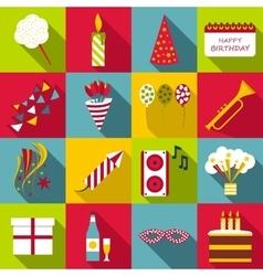 Happy birthday icons set flat style vector