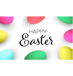 happy easter handwritten text with colorful eggs vector image