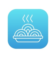 Hot meal in plate line icon vector
