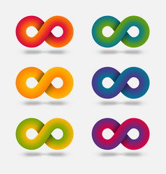 infinity abstract multicolor signs set vector image